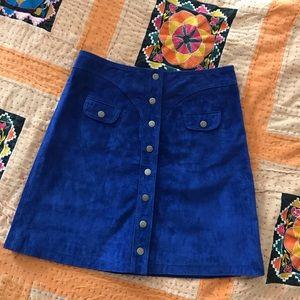 Anthropologie Blue Suede Mini Skirt
